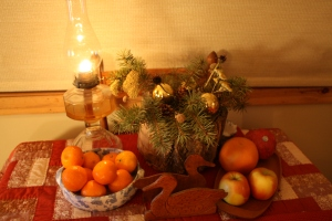 a table laden with good things for all to enjoy--even the mice . . . .