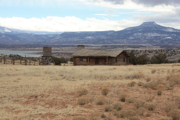 Mesa with cabin in foreground . . . .
